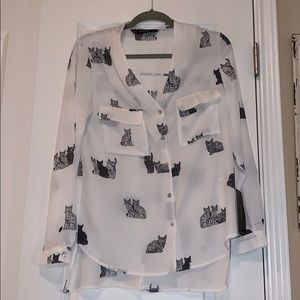 ZARA Basic Cat sheer top NWT